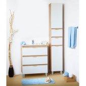 Тумба и шкаф-пенал для ванны Токио 70 дуб скальный/белый глянец